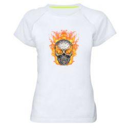Женская спортивная футболка Metal skull in flame of fire