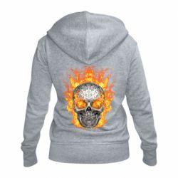 Женская толстовка на молнии Metal skull in flame of fire