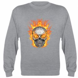 Реглан (свитшот) Metal skull in flame of fire