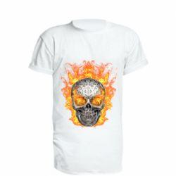 Удлиненная футболка Metal skull in flame of fire