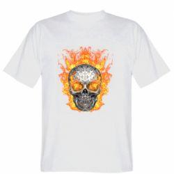 Мужская футболка Metal skull in flame of fire