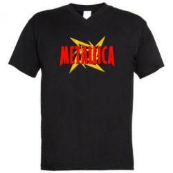 Мужская футболка  с V-образным вырезом Metallica Logo - FatLine