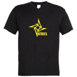 Мужская футболка  с V-образным вырезом Metallica Logotype - FatLine