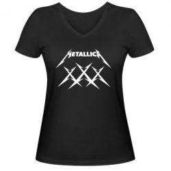 Женская футболка с V-образным вырезом Metallica XXX - FatLine