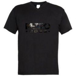 Мужская футболка  с V-образным вырезом Metro 2033 text