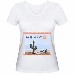 Жіноча футболка з V-подібним вирізом Mexico art