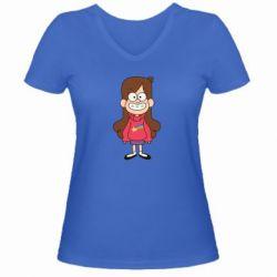 Женская футболка с V-образным вырезом Мэйбл Пайнс - FatLine