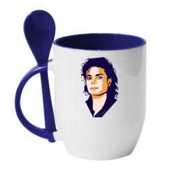 Кружка з керамічною ложкою Michael Jackson Graphics Cubism