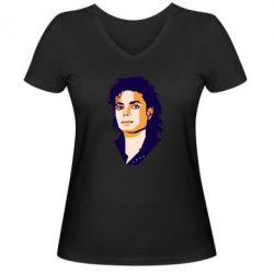 Жіноча футболка з V-подібним вирізом Michael Jackson Graphics Cubism