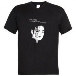 Мужская футболка  с V-образным вырезом Michael's wealth and woes - FatLine