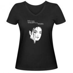 Женская футболка с V-образным вырезом Michael's wealth and woes - FatLine