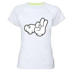 Купить Женская спортивная футболка Mickey Mouse Hands Chop-chop , FatLine
