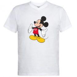 Мужская футболка  с V-образным вырезом Mickey Mouse - FatLine