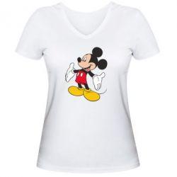 Женская футболка с V-образным вырезом Mickey Mouse - FatLine