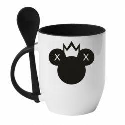 Кружка з керамічною ложкою Mickey with a crown