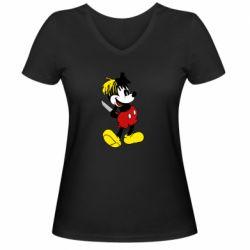 Жіноча футболка з V-подібним вирізом Mickey XXXTENTACION