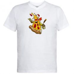 Мужская футболка  с V-образным вырезом Микеланджело кусок пиццы - FatLine