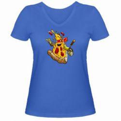 Женская футболка с V-образным вырезом Микеланджело кусок пиццы - FatLine