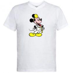 Мужская футболка  с V-образным вырезом Микки Доктор - FatLine