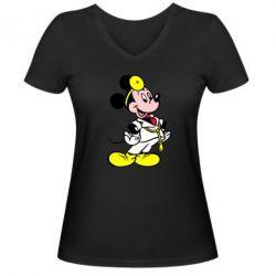 Женская футболка с V-образным вырезом Микки Доктор - FatLine