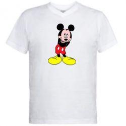 Мужская футболка  с V-образным вырезом Микки Маус стесняется - FatLine
