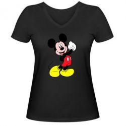 Женская футболка с V-образным вырезом Микки Маус