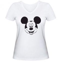 Женская футболка с V-образным вырезом Микки Маус - FatLine