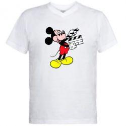 Мужская футболка  с V-образным вырезом Микки режиссер - FatLine