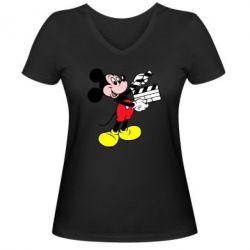 Женская футболка с V-образным вырезом Микки режиссер - FatLine