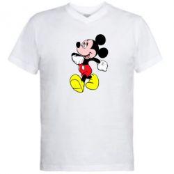 Мужская футболка  с V-образным вырезом Микки шагает - FatLine