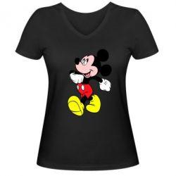Женская футболка с V-образным вырезом Микки шагает - FatLine