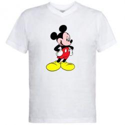 Мужская футболка  с V-образным вырезом Микки - FatLine
