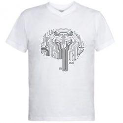 Мужская футболка  с V-образным вырезом Микросхемка Мозг