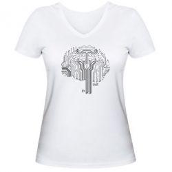 Женская футболка с V-образным вырезом Микросхемка Мозг
