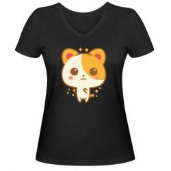 Жіноча футболка з V-подібним вирізом Мила кися
