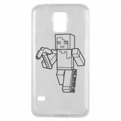 Чехол для Samsung S5 Minecraft and hero nickname