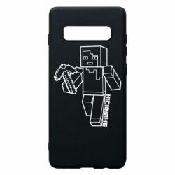 Чехол для Samsung S10+ Minecraft and hero nickname