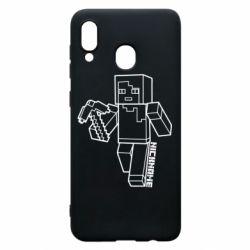 Чехол для Samsung A20 Minecraft and hero nickname