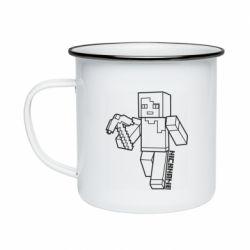 Кружка эмалированная Minecraft and hero nickname