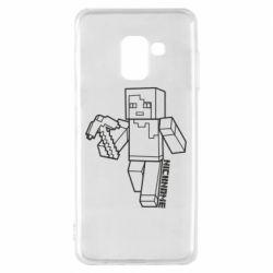 Чехол для Samsung A8 2018 Minecraft and hero nickname
