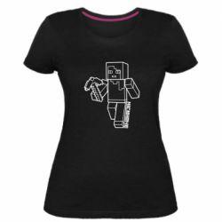Женская стрейчевая футболка Minecraft and hero nickname