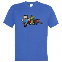 Мужская футболка  с V-образным вырезом Minecraft Company - FatLine