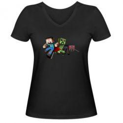 Женская футболка с V-образным вырезом Minecraft Company - FatLine