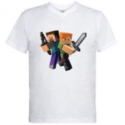 Мужская футболка  с V-образным вырезом Minecraft Fan Art