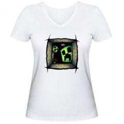 Женская футболка с V-образным вырезом Minecraft Game - FatLine
