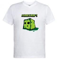 Мужская футболка  с V-образным вырезом Minecraft Head - FatLine