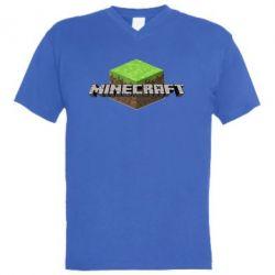 Мужская футболка  с V-образным вырезом Minecraft Land - FatLine