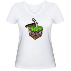 Женская футболка с V-образным вырезом Minecraft Logo Сube - FatLine