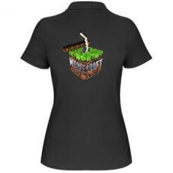 Женская футболка поло Minecraft Logo Сube - FatLine