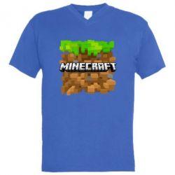 Мужская футболка  с V-образным вырезом Minecraft Main Logo - FatLine